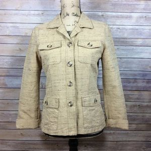 CAbi Size 4 Lightweight Nubby Tweed Safari Jacket